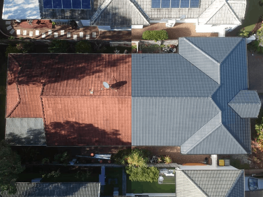 A Before And After Picture of A Professionally Restored Rooftop In The Sunshine Coast