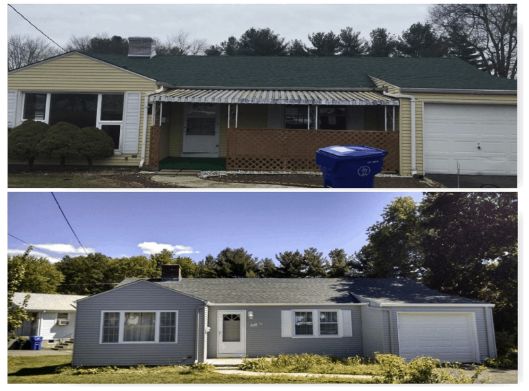 Before And After Picture of A Professionally Repainted Residential Property On The Sunshine Coast