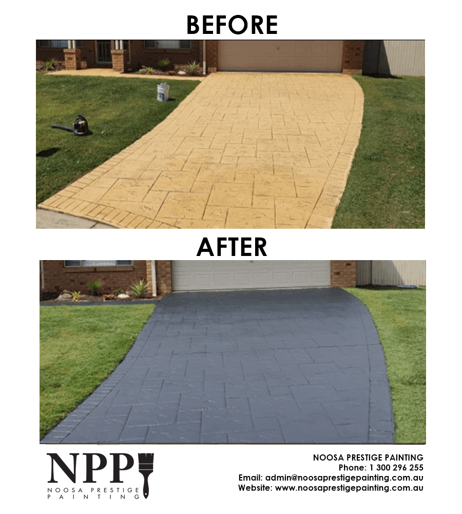 Before And After Picture of A Professionally Repainted Residential Driveway